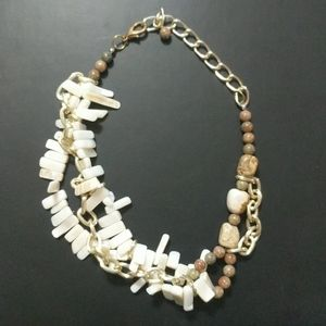Shell Jasper and Gold Tone Chain Necklace
